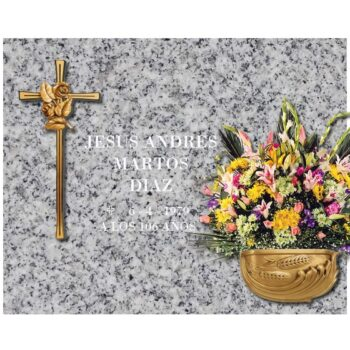 Lápida esencial Cruz con flor y jardinera de bronce nº204
