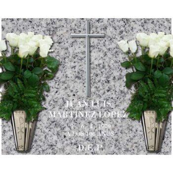 Lápida esencial Cruz y dos jarrones de acero nº210