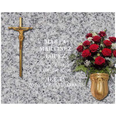 Lápida esencial Cruz con Cristo y búcaro de bronce nº102