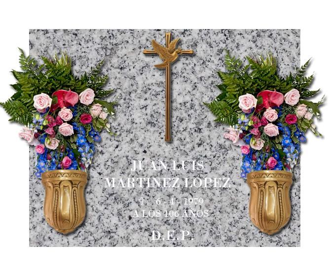 Lápida esencial Cruz con Paloma y dos jarrones de bronce nº202