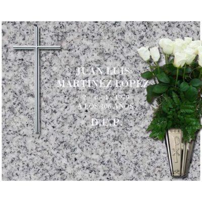 Lápida esencial Cruz y jarrón de acero nº101