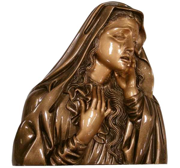 Virgen de la Dolorosa en mármol sintético Ref. 6002B