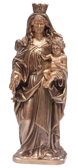 Virgen del Rosario con Niño de mármol sintético Ref. 6010B