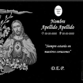 Lápida láser del sagrado corazón de Jesús con marco de flores