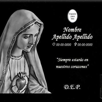 Lápida láser del sagrado corazón de María en perfil