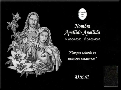 Lápida láser sagrados corazones de Jesús y María