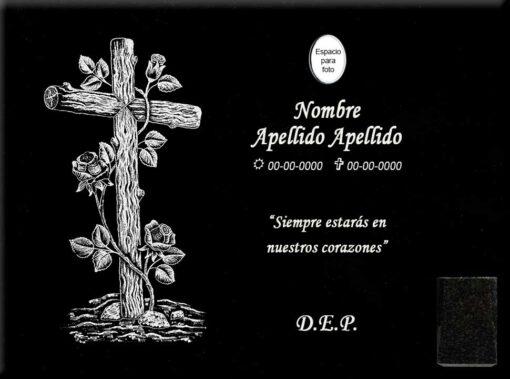 Lápida láser de la Cruz de madera con rosas