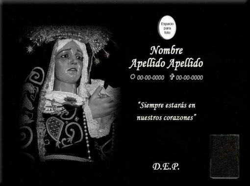 Lápida láser de la Virgen de la Soledad del Puente