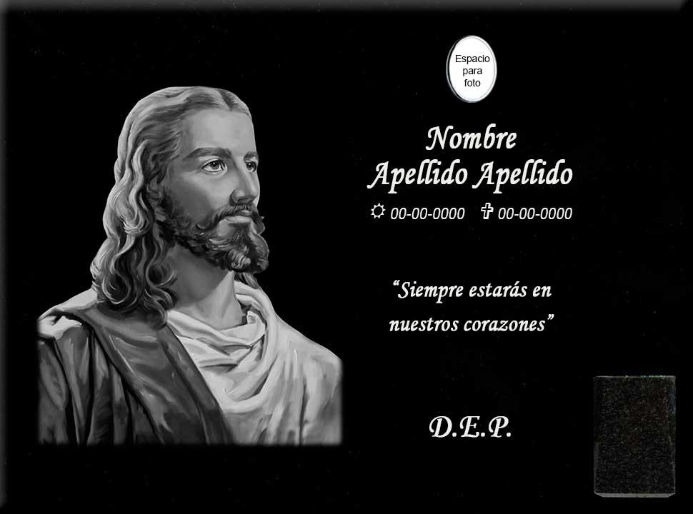 Lápida láser de Jesús de perfil