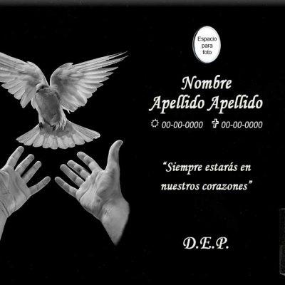 Lápida láser de manos y paloma de la paz