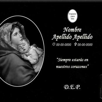 Lápida láser Virgen María y Niño Jesús en óvalo