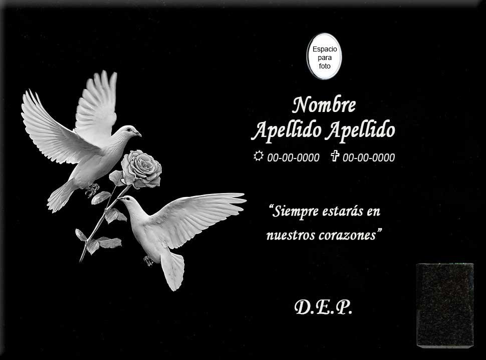 Lápida láser palomas de la Paz y rosa