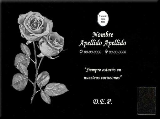 Lápida láser con rosas