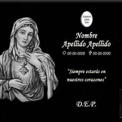 Lápida láser del sagrado corazón de María