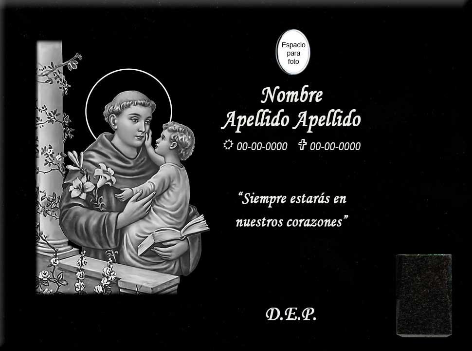 Lápida láser de San Antonio de Padua en columna