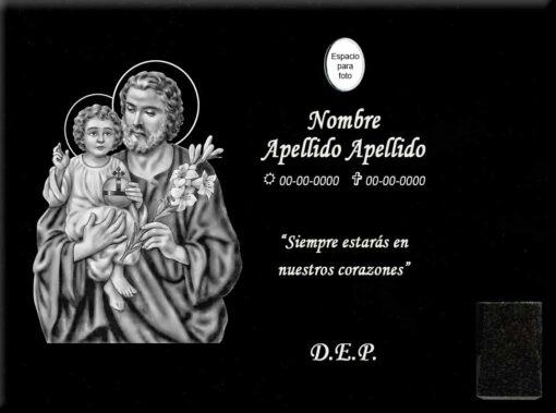 Lápida láser de San José y Niño Jesús