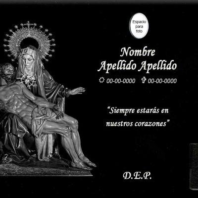 Lápida láser de la Virgen de las Angustias y Cristo yacente