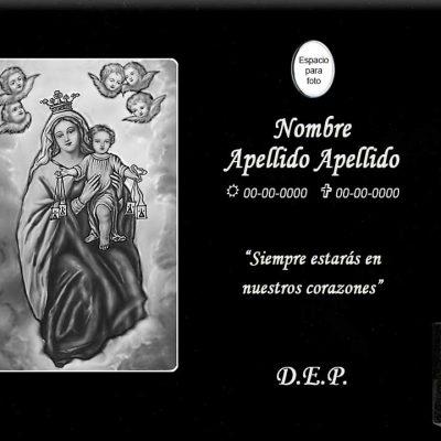 Lápida láser de la Virgen del Carmen con querubines