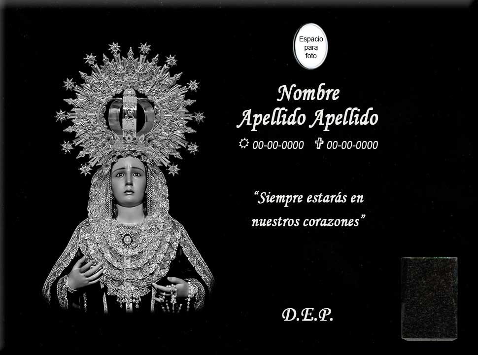 Lápida láser de la Virgen de la Esperanza