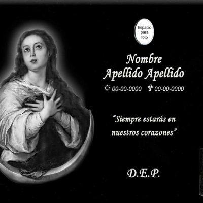 Lápida láser de la Virgen de la Inmaculada