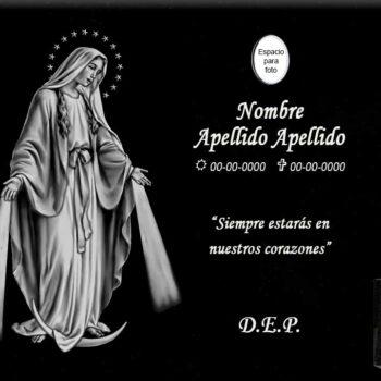Lápida láser de la Virgen Milagrosa