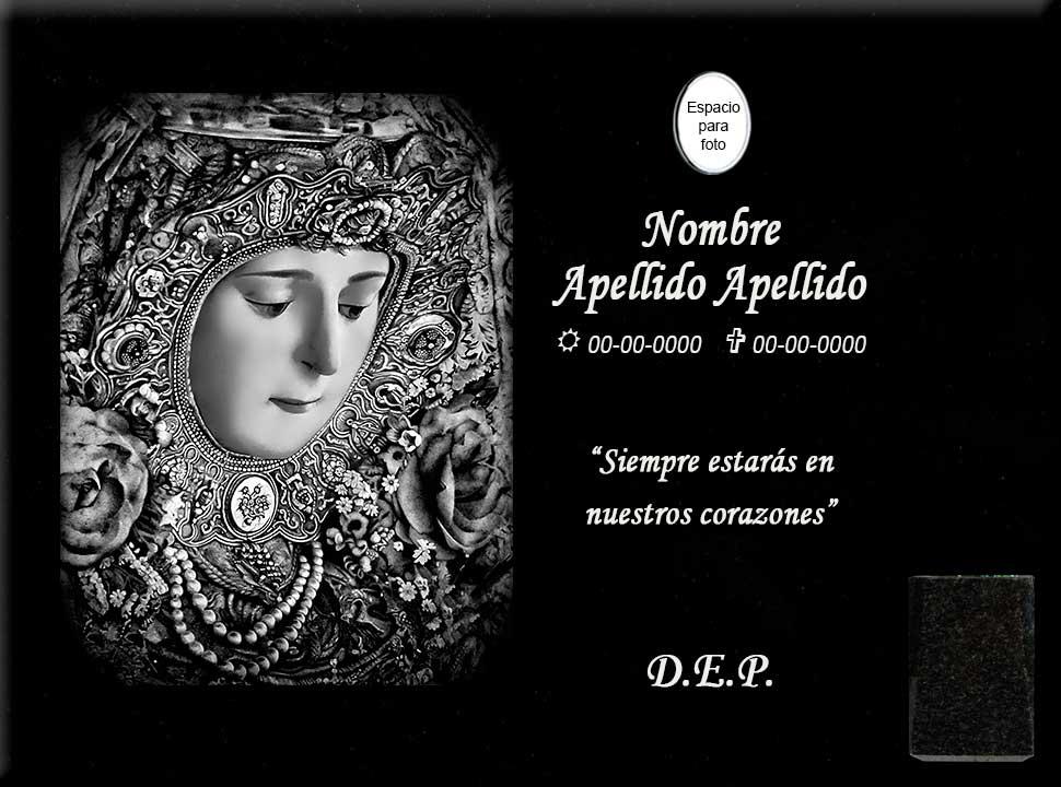 Lápida láser de cara de Virgen del Rocío