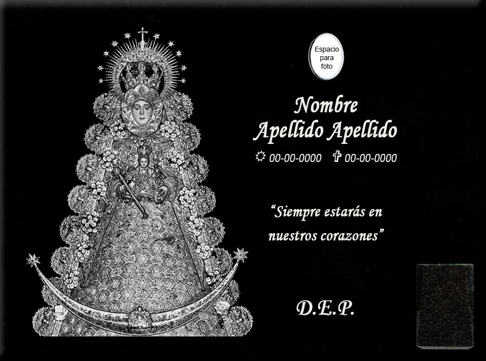 Lápida láser de la Virgen del Rocío en detalle