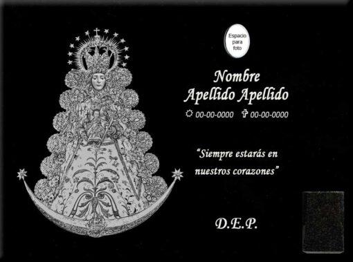 Lápida láser de la Virgen del Rocío entera