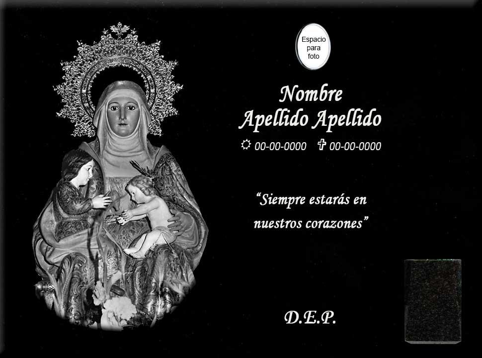 Lápida láser de la Virgen Santa Ana