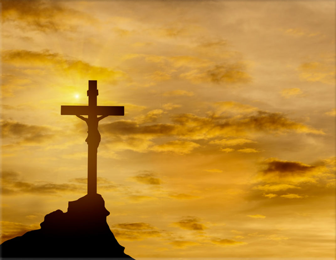 Lápida ColorFull Cruz y Cristo atardecer 2464
