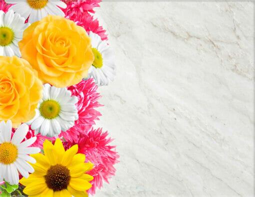 Lápida ColorFull de flores sobre mármol