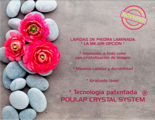 Lápida ColorFull rosas sobre piedras 3708