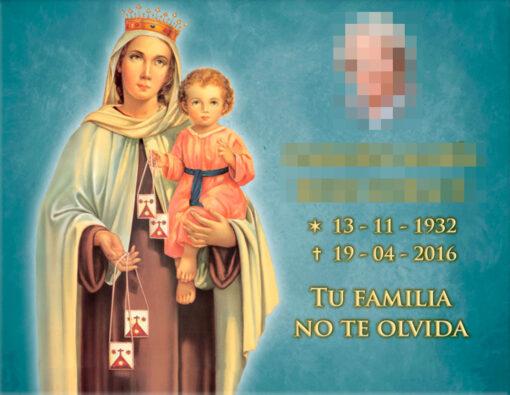 Lápida ColorFull Virgen fondo turquesa 9887