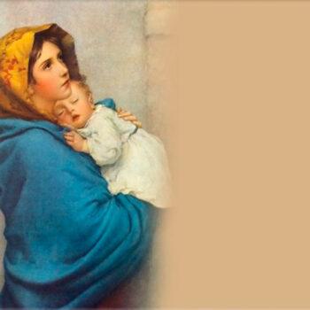 Lápida ColorFull Virgen con niño dormido RL003